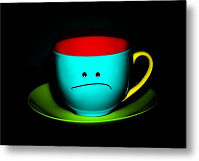 Peeved Colorful Cup And Saucer Metal Print by Natalie Kinnear