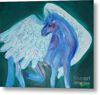 Metal Print featuring the painting Pegasus by Cassandra Buckley