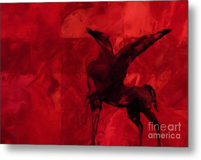 Pegasus Red Metal Print by Lutz Baar