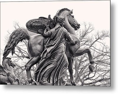 Pegasus Tamed By The Muses Erato And Calliope Metal Print by Bill Cannon
