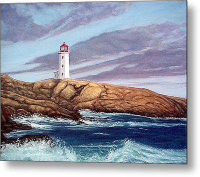 Peggy's Cove Light Metal Print by Fran Brooks
