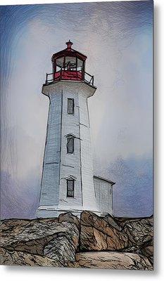 Peggys Cove Lighthouse Drawing Metal Print