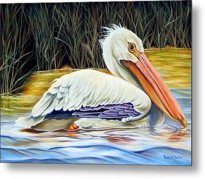 Pelican At East Pearl Metal Print by Phyllis Beiser