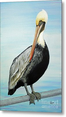 Metal Print featuring the painting Pelican At The Marina  by Jimmie Bartlett