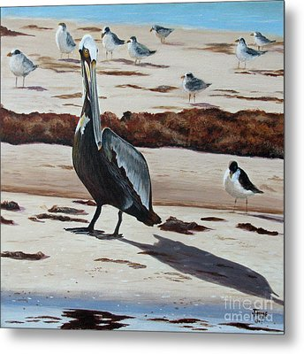 Metal Print featuring the painting Pelican Beach by Jimmie Bartlett