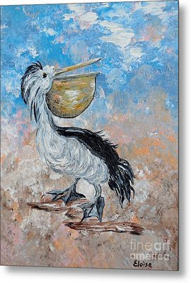 Metal Print featuring the painting Pelican Beach Walk - Impressionist by Eloise Schneider