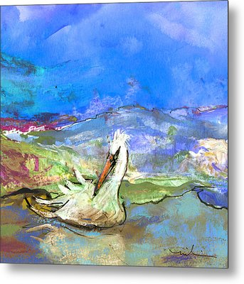 Pelican From The Dombes In France 01 Metal Print by Miki De Goodaboom