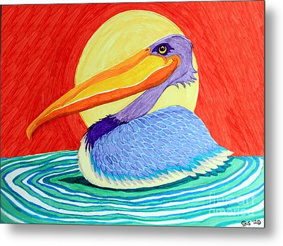 Pelican In The Sun  Metal Print by Nick Gustafson