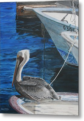 Pelican On A Boat Metal Print