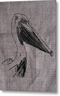 Pelican On Burlap Metal Print by Konni Jensen