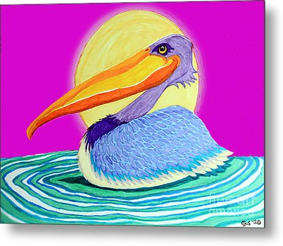 Pelican On The Water 2 Metal Print by Nick Gustafson