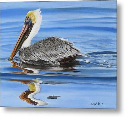 Pelican Ripples Metal Print by Phyllis Beiser
