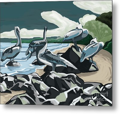 Metal Print featuring the painting Pelicans And Friends At Seashore by Tim Gilliland