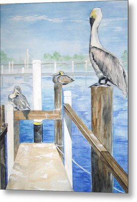 Metal Print featuring the painting Pelicans by Ellen Canfield