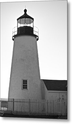 Metal Print featuring the photograph Pemaquid Lighthouse Black And White by Amazing Jules