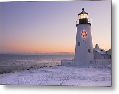 Pemaquid Point Lighthouse And Snow Maine Coast Metal Print by Keith Webber Jr
