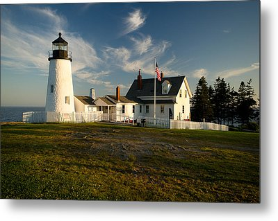 Pemaquid Point Lighthouse At Sunset Metal Print