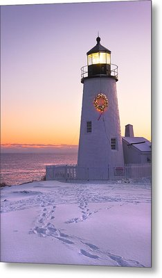 Pemaquid Point Lighthouse Christmas Snow Wreath Maine Metal Print