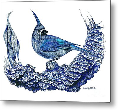 Pen And Ink Drawing Of Small Blue Bird  Metal Print by Mario Perez