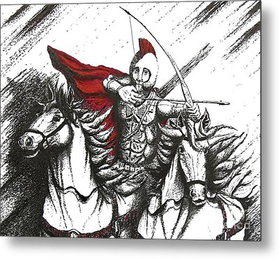 Pen And Ink Drawing Of Soldier With Horses Metal Print by Mario Perez