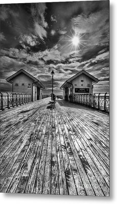 Penarth Pier 2 Monochrome Metal Print