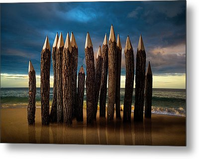 Pencil Beach Metal Print