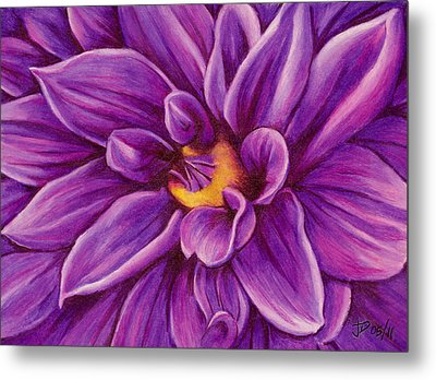 Metal Print featuring the drawing Pencil Dahlia by Janice Dunbar