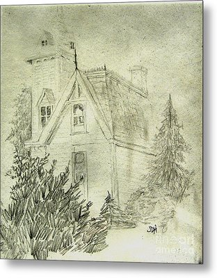 Pencil Sketch Of Old House Metal Print
