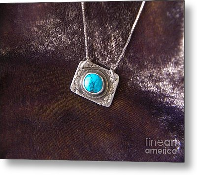 Pendant With Turquoise Metal Print by Patricia  Tierney
