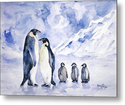 Penguin Family Metal Print
