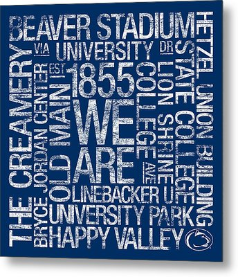 Penn State College Colors Subway Art Metal Print