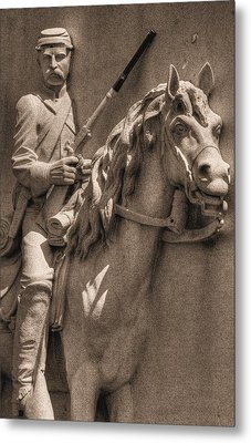 Pennsylvania At Gettysburg - 17th Pa Cavalry Regiment - First Day Of Battle Metal Print by Michael Mazaika