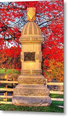 Pennsylvania At Gettysburg - 63rd Pa Volunteer Infantry - Sunrise Autumn Steinwehr Avenue Metal Print by Michael Mazaika