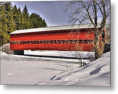 Pennsylvania Country Roads - Sachs Covered Bridge Over Marsh Creek B1 - Adams County Winter Metal Print by Michael Mazaika