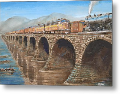 Pennsylvania Railroad On The Rockville Bridge Metal Print by Christopher Jenkins