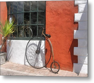 Penny-farthing In Front Of Bike Shop Metal Print by Susan Savad
