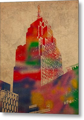 Penobscot Building Iconic Buildings Of Detroit Watercolor On Worn Canvas Series Number 5 Metal Print