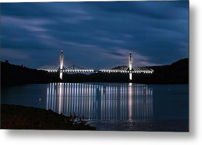Penobscot Narrows Bridge And Observatory At Night Metal Print by Barbara West