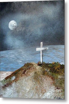Metal Print featuring the painting Pensacola Beach By The Light Of The Moon by Eloise Schneider