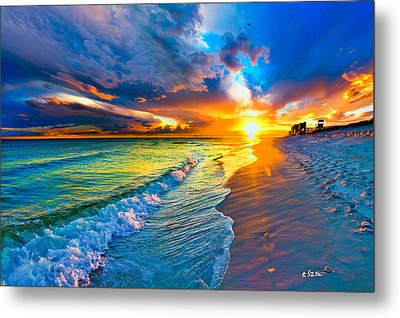 Pensacola Florida-beach Waves-sun Burst Shoreline Metal Print