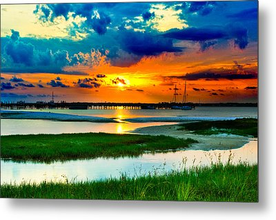 Metal Print featuring the photograph Pensacola Florida Harbor-radiant Red Sunset-green Grass by Eszra Tanner