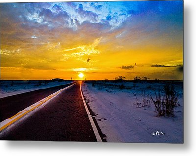 Pensacola Navarre Florida National Sea Shore-driving Into Sunset Metal Print