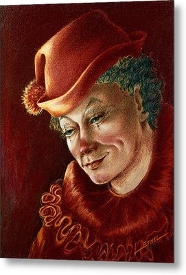 Metal Print featuring the pastel Pensive Clown by Ethel Quelland