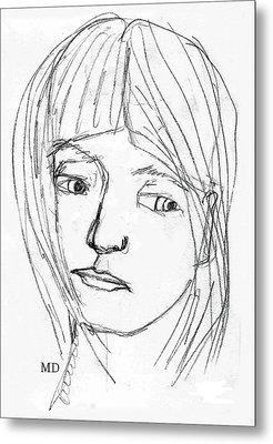 Pensive Girl Metal Print by Michael Dohnalek