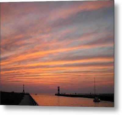 Pentwater Pier Lighthouse Metal Print by Penny Hunt