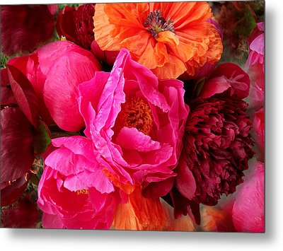 Peonies And Poppies Vibrant Bouquet Metal Print by Rebecca Overton