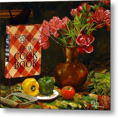 Metal Print featuring the painting Peonies And Recipes by Rick Fitzsimons
