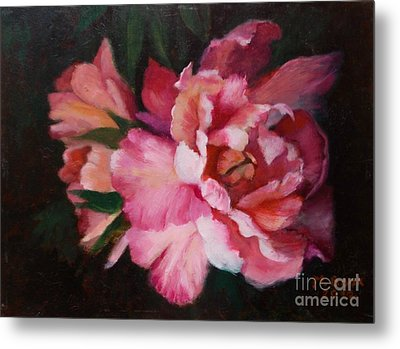 Peonies No 8 The Painting Metal Print by Marlene Book