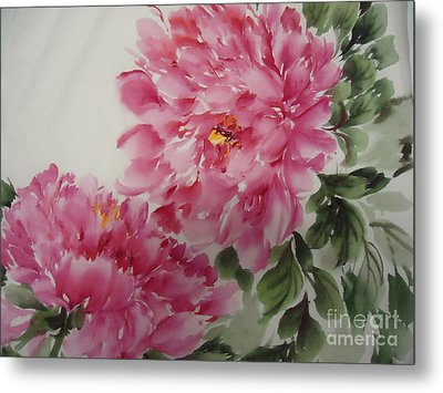 Metal Print featuring the painting Peony-3-25 by Dongling Sun