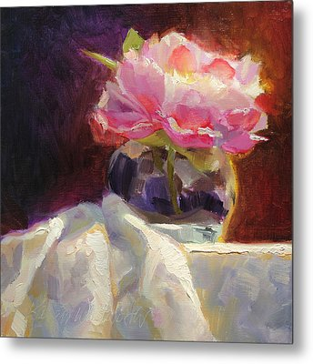 Peony Glow - Square Still Life Metal Print by Karen Whitworth